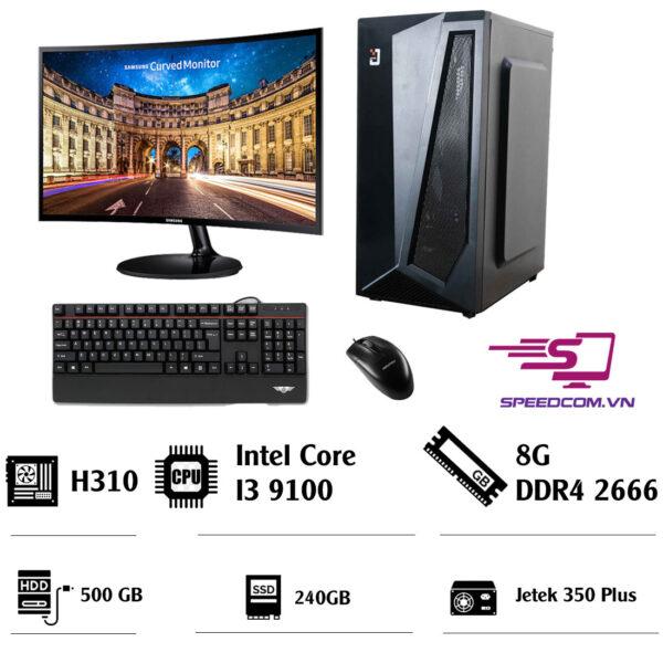 Bộ máy tính H310 - CPU i3 9100 - RAM 8GB - SSD 240GB- HDD 500GB